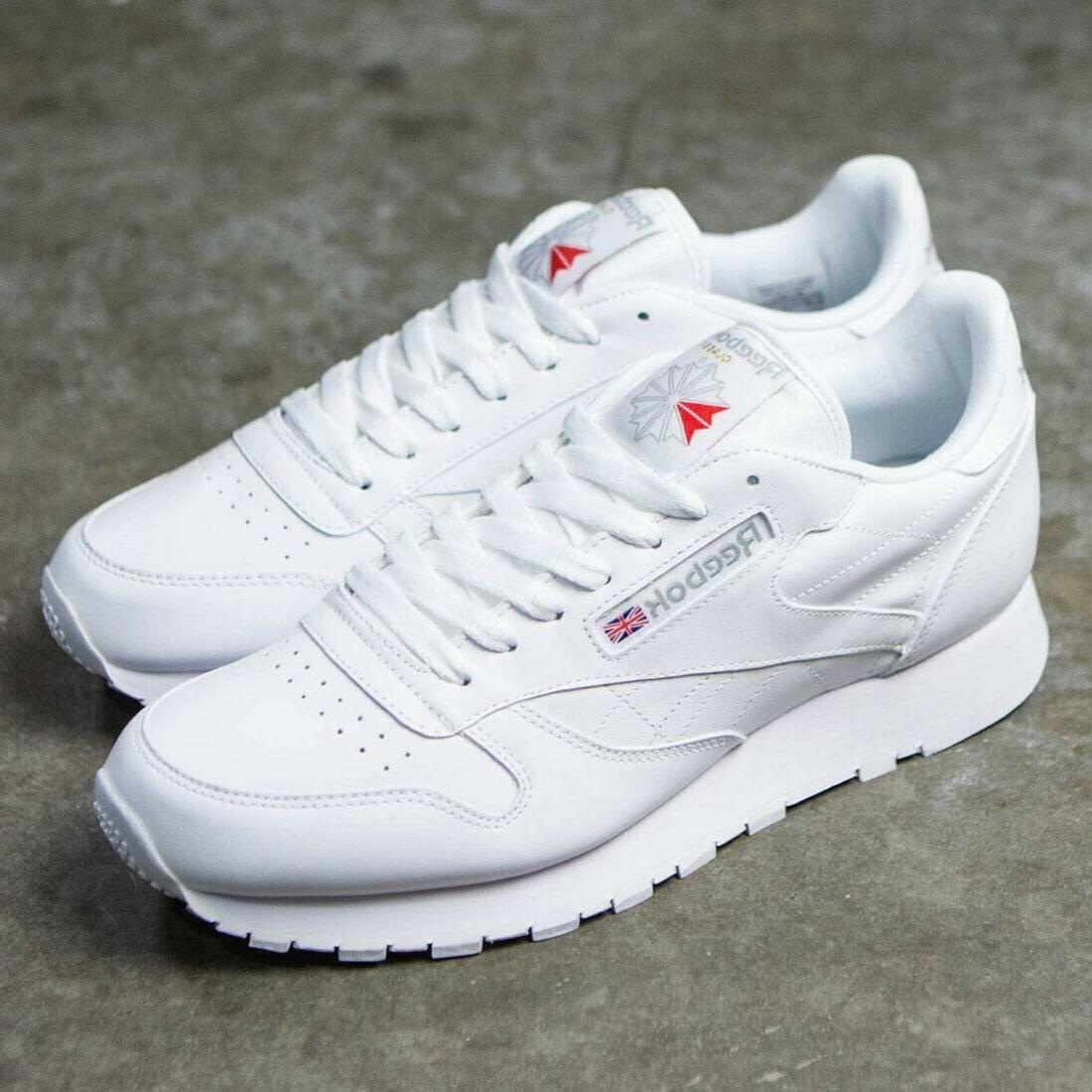 classic leather 9771 white grey red mens
