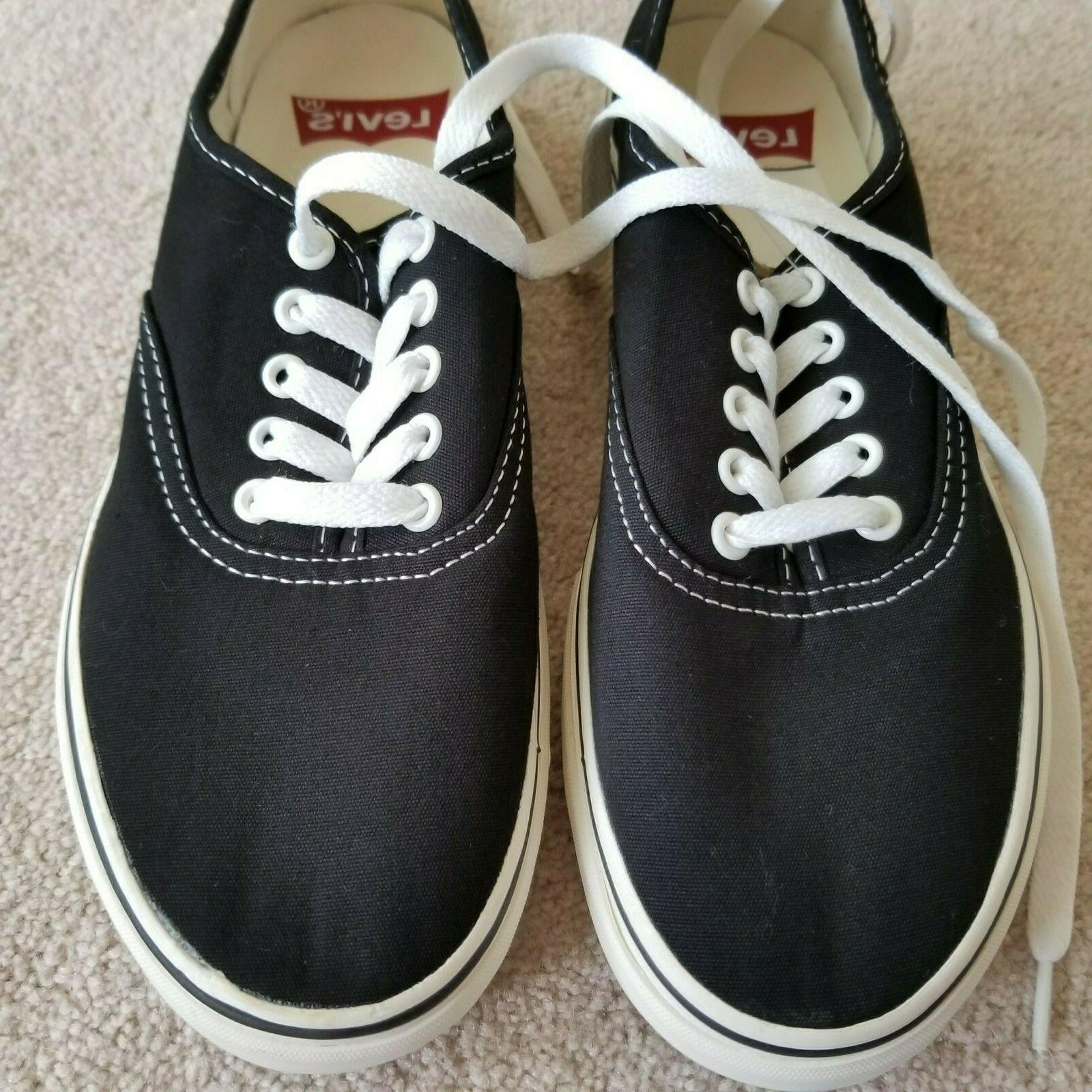 Levi's Black Canvas Shoes Lace Up Men's