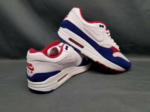 Nike Air Max 1 Running Mesh White Red Blue Size 7.5 DISPLAY MODEL