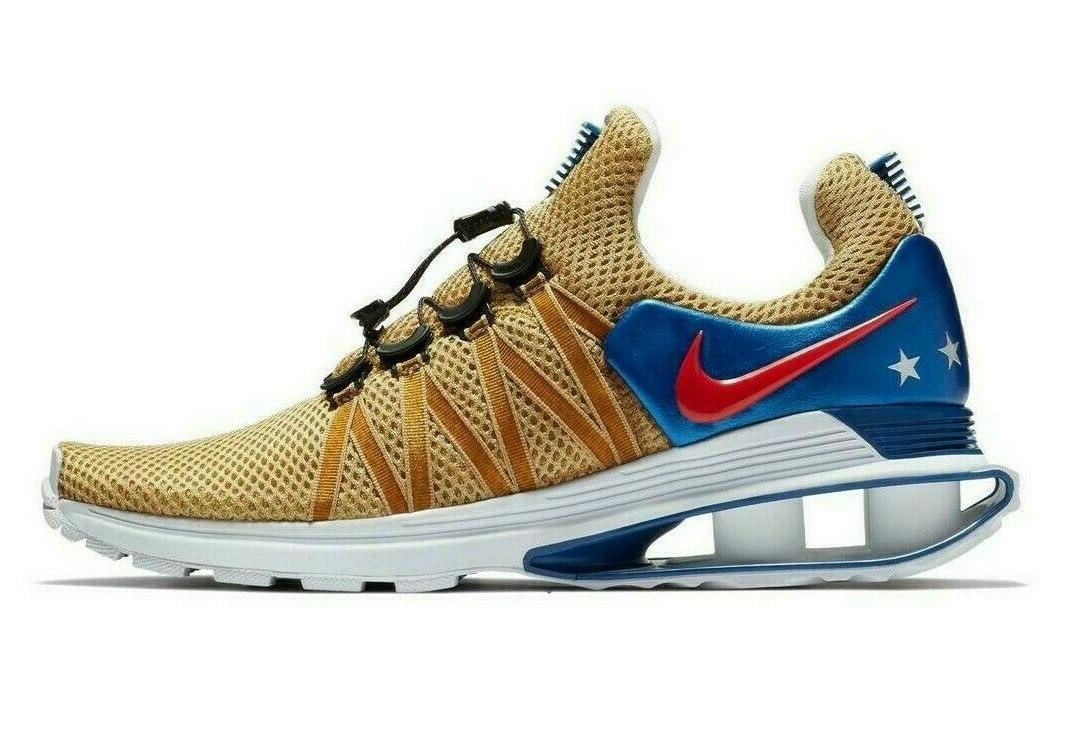 shox gravity gold blue red white mens