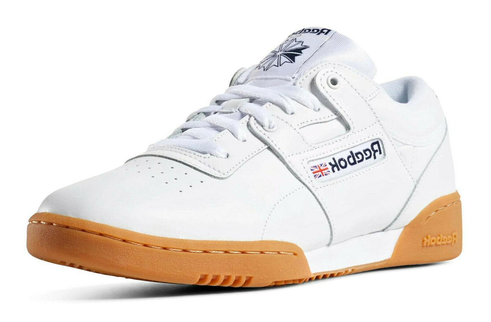 Reebok Workout Low White Gum Leather Mens Running Sneakers T