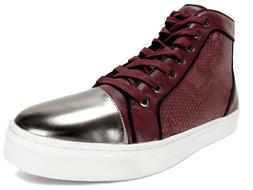GUESS Men's Boden Gold-Toe Hight Top Sneakers Dark Red Size