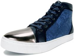 GUESS Men's Boden Gold-Toe Hight Top Sneakers Dark Blue Size