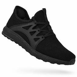 Feetmat Mens Black Tennis Shoes Gym /Running Sneakers Slip O