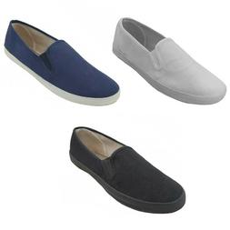 Mens Canvas Loafers Sneakers Slip On Fashion Twin Gore Boat