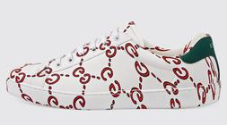 Gucci Mens New Ace Ghost GG Logo Print Red White Leather Fla