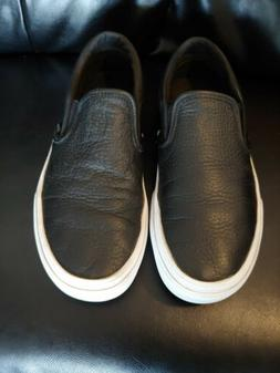 Unisex Vans Classic Slip-on Black Leather Fashion Sneakers M
