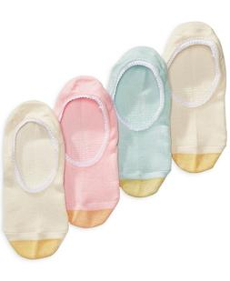GOLD TOE Womens 4 Pack Lace Trim Invisible Socks Asst $18 -